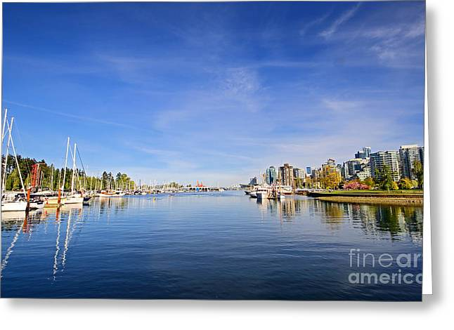 Vancouver Greeting Cards - Vancouver Waterfront and Skyline Greeting Card by Charline Xia