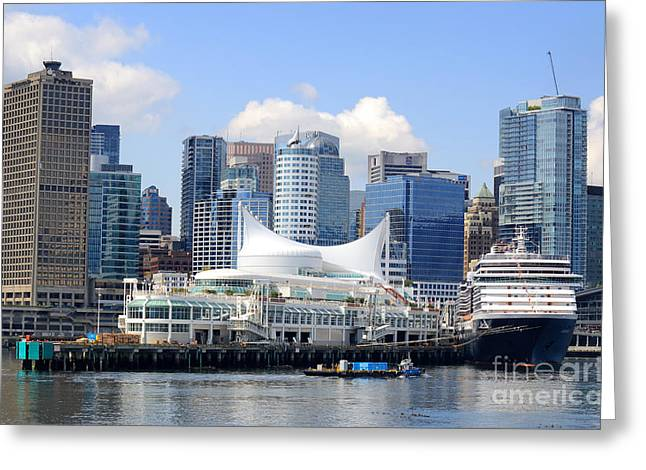 Vancouver Greeting Cards - Vancouver Waterfront Landmarks Greeting Card by Charline Xia