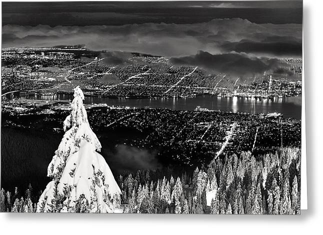 Vancouver Night Scene Greeting Cards - Vancouver winter cityscape Greeting Card by Pierre Leclerc Photography