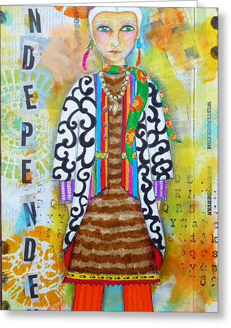 Vancouver Mixed Media Greeting Cards - Vancouver Woman Greeting Card by Lynn Colwell