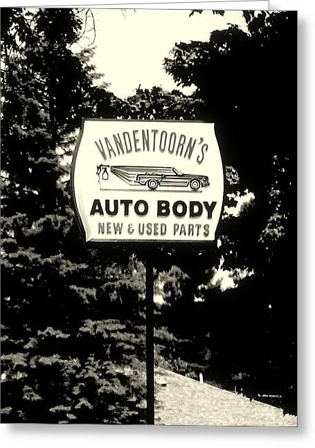 Up For Repairs Greeting Cards - Vandentoorns Auto Body New and Used Parts Sign Greeting Card by Rosemarie E Seppala