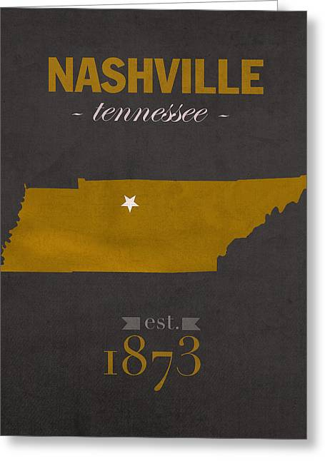Nashville Tennessee Greeting Cards - Vanderbilt University Commodores Nashville Tennessee College Town State Map Poster Series No 118 Greeting Card by Design Turnpike
