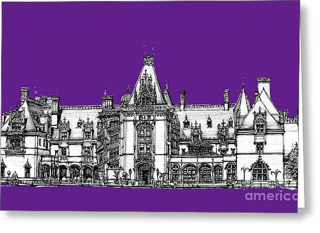 Vanderbilt's Biltmore In Purple Greeting Card by Adendorff Design