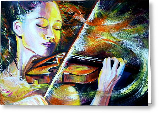 Vanessa-mae.power Of Music Greeting Card by Anna  Duyunova