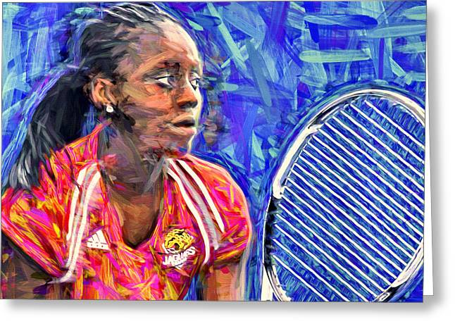 White River Greeting Cards - Vanessa Whyte Digitally Painted IUPUI Tennis Greeting Card by David Haskett