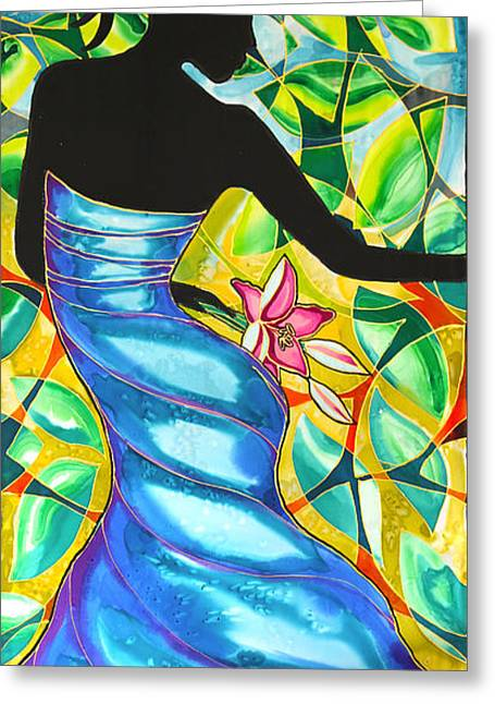 Dancer Tapestries - Textiles Greeting Cards - Vanessas Blue Dress in Belize Greeting Card by Lee Vanderwalker