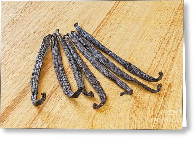 In Focus Greeting Cards - Vanilla Beans on a Wooden Surface Greeting Card by Colin and Linda McKie