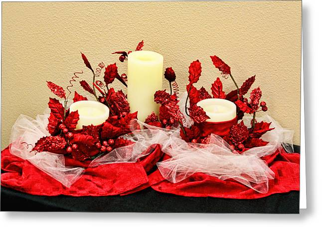 Netting Greeting Cards - Vanilla Candle Display Greeting Card by Linda Phelps