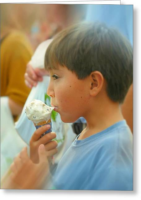 Eating Ice Cream Greeting Cards - Vanilla Chip Greeting Card by Diana Angstadt
