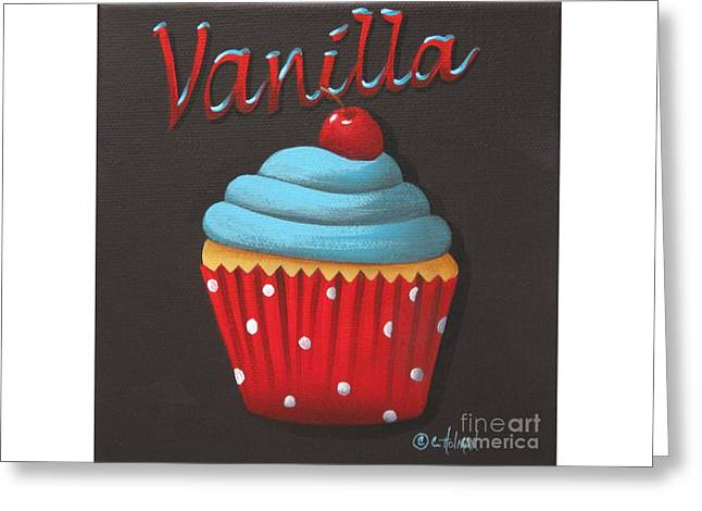 Folkart Greeting Cards - Vanilla Cupcake Greeting Card by Catherine Holman