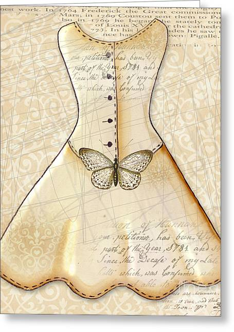 Dressing Room Mixed Media Greeting Cards - Vanilla Dress Greeting Card by Elaine Jackson