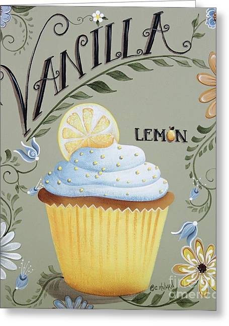 Lemon Art Greeting Cards - Vanilla Lemon Cupcake Greeting Card by Catherine Holman
