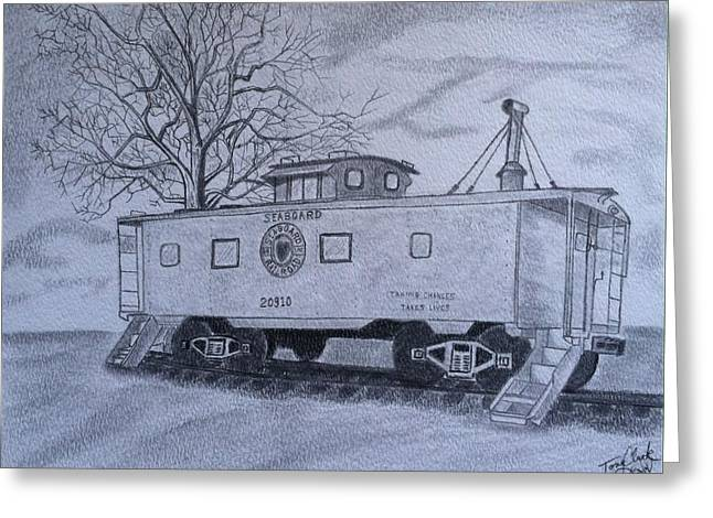 Caboose Drawings Greeting Cards - Vanishing America Greeting Card by Tony Clark