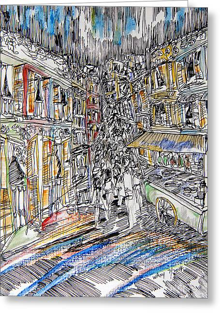 Wooden Building Drawings Greeting Cards - Vanishing China Town Greeting Card by Kah Wah Tan