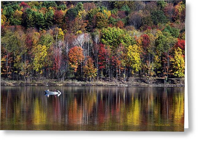 Christina Greeting Cards - Vanishing Autumn Reflection Landscape Greeting Card by Christina Rollo