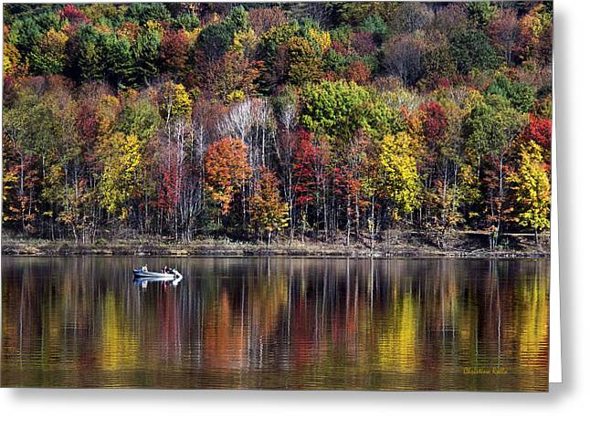 Fishing Boat Reflection Greeting Cards - Vanishing Autumn Reflection Landscape Greeting Card by Christina Rollo