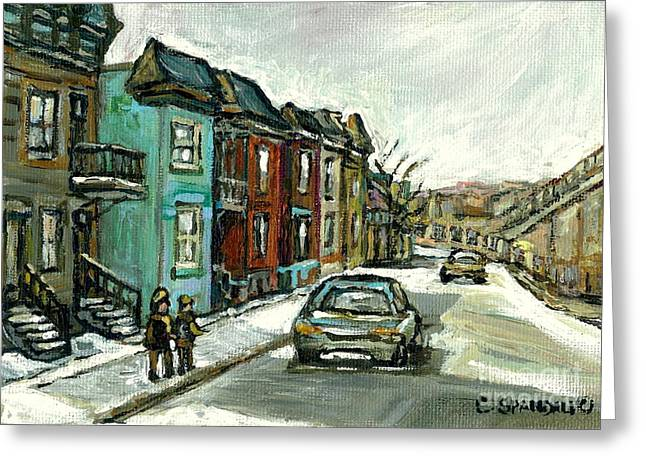Verdun Food Greeting Cards - Vanishing Montreal Historical Paintings May Street Verdun Champlain Bridge Celebrate Montreal 375  Greeting Card by Carole Spandau