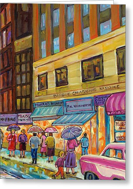 Ste Catherine Greeting Cards - Vanishing Montreal-rainy Day Downtown Streetcar To Morgans Department Store Greeting Card by Carole Spandau