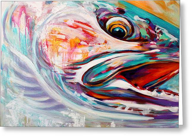 Best Sellers -  - Abstract Expressionist Greeting Cards - Vanishing Native - Steelhead Trout Flyfishing Art Greeting Card by Mike Savlen