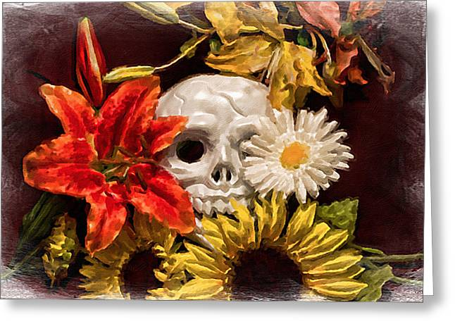 Contemporary Symbolism Greeting Cards - Vanitas Greeting Card by Jeff  Gettis