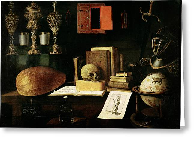 Tome Greeting Cards - Vanitas Still Life, 1641 Oil On Canvas Greeting Card by Sebastian Stoskopff