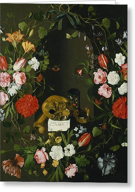Hour Glass Greeting Cards - Vanitas Still Life With Flowers Greeting Card by J.H. Elers