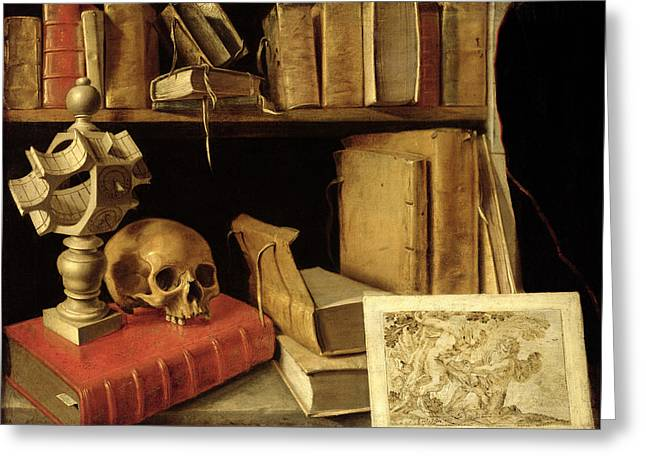 Book Still Life Greeting Cards - Vanitas With A Sundial, C.1626-40 Oil On Canvas Greeting Card by French School