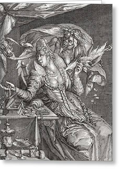 Jewelry Bag Greeting Cards - Vanitas With Death And A Maiden, After Jacob De Gheyn.  From Illustrierte Sittengeschichte Vom Greeting Card by Bridgeman Images