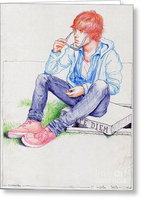 Tombstone Drawings Greeting Cards - VANITY GAYteen takes off sunglasses prevent him reading the carpe diem on tombstone on which he sits Greeting Card by Line Arion