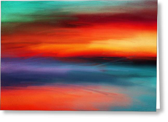 Abstract Seascape Art Greeting Cards - Vanity Of Its Rays Greeting Card by Lourry Legarde