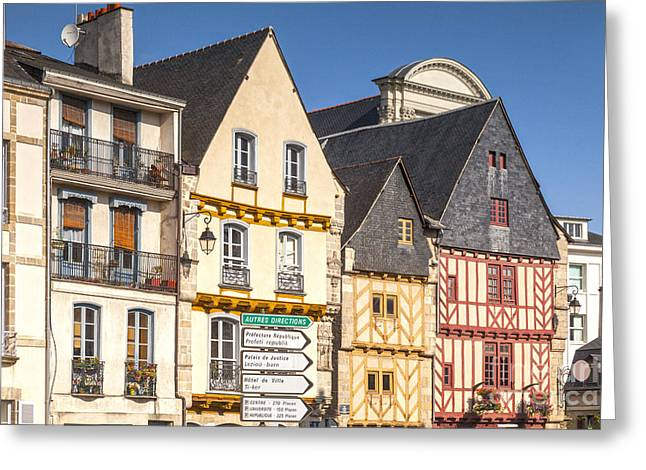 Half-timbered Greeting Cards - Vannes Brittany France Half Timbered Buildings Greeting Card by Colin and Linda McKie