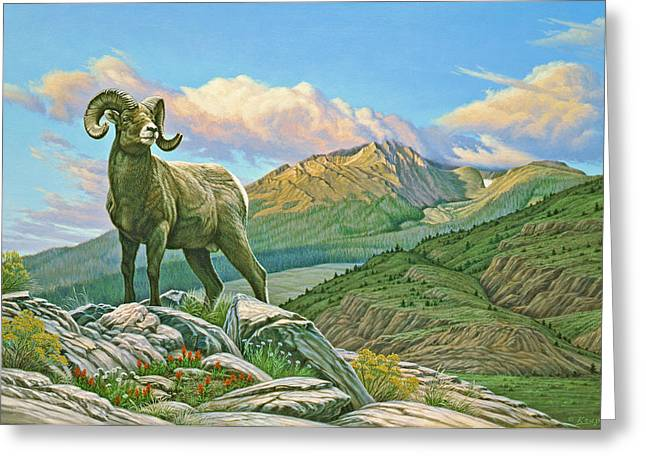 Wildlife Greeting Cards - Vantage Point - bighorn Greeting Card by Paul Krapf