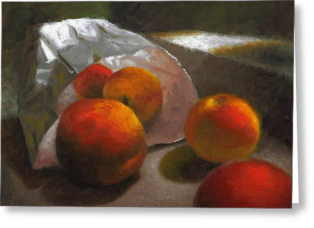 Locally Grown Greeting Cards - Vanzant Peaches Greeting Card by Timothy Jones