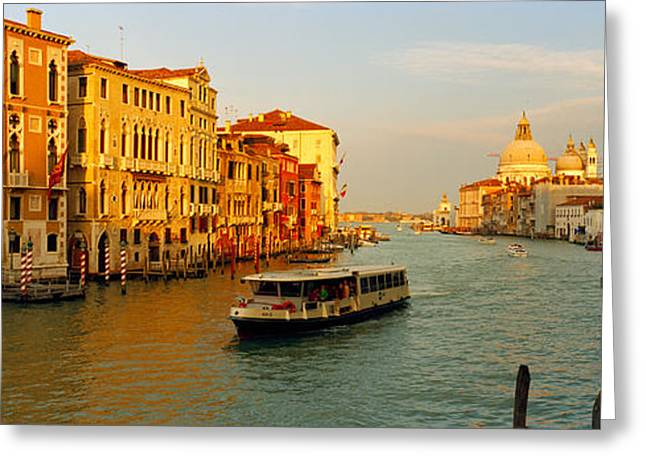 Vaporetto Greeting Cards - Vaporetto Water Taxi In A Canal, Grand Greeting Card by Panoramic Images