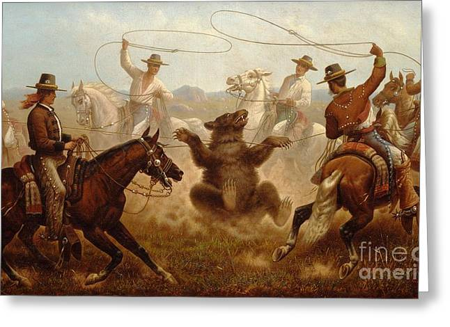 Old West Prints Greeting Cards - Vaqueros Roping a Bear Greeting Card by Pg Reproductions