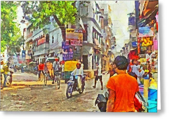 Human Trafficking Digital Art Greeting Cards - Varanasi Intersection Greeting Card by Digital Photographic Arts