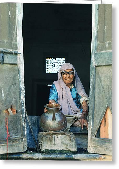 Water Jug Greeting Cards - Varanasi Water Seller Greeting Card by Shaun Higson