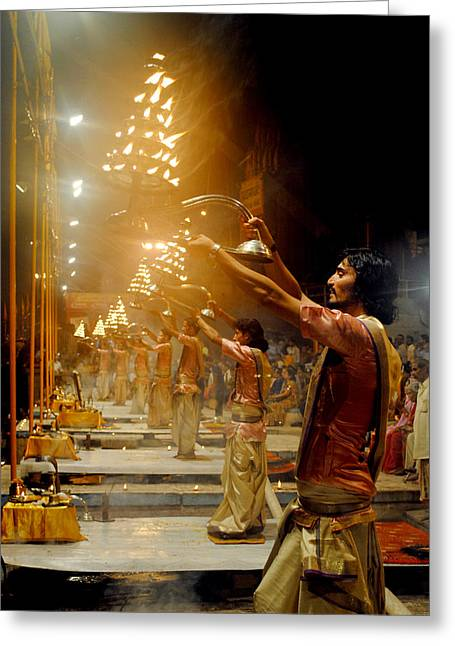 Money Sharma Greeting Cards - Varanasis Ganga Aarti Greeting Card by Money Sharma