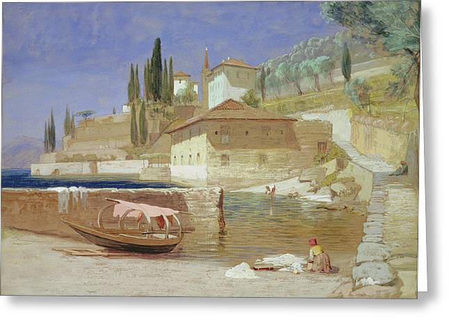Italian Landscapes Greeting Cards - Varenna, Lake Como Greeting Card by Frederick Lee Bridell