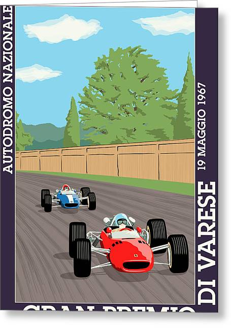 Rally Greeting Cards - Varese Italy Grand Prix 1967 Greeting Card by Nomad Art And  Design