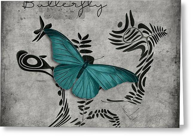 Variation Sur Un Meme Theme - S05 Butterfly Turquoise Greeting Card by Variance Collections