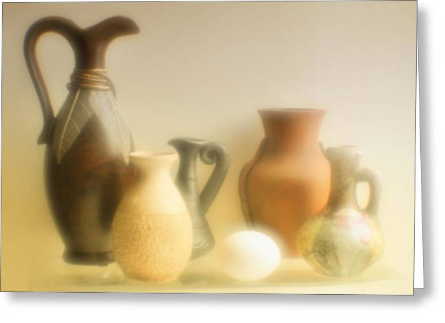 Pottery Pitcher Digital Greeting Cards - Various ceramic vases. Greeting Card by   larisa Fedotova