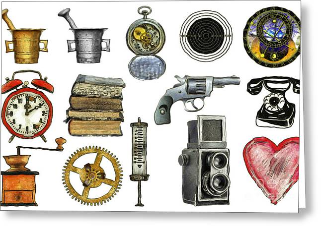 Equipment Drawings Greeting Cards - Various Object - Signs - Icons Greeting Card by Michal Boubin