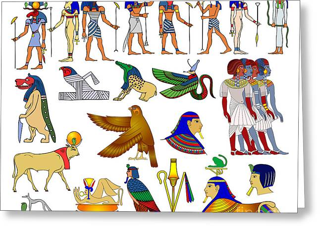 Pictograph Greeting Cards - Various themes of ancient Egypt Greeting Card by Michal Boubin