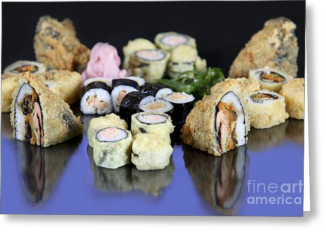 Ethnic Food Greeting Cards - Various Types Of Sushi  Greeting Card by PhotoStock-Israel