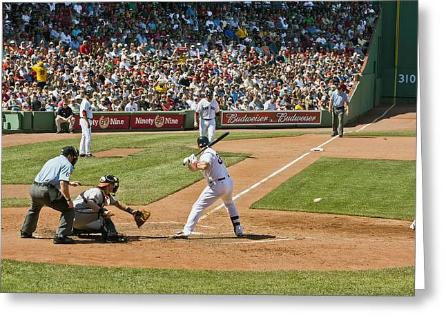 Boston Red Sox Greeting Cards - Varitek takes a ball Greeting Card by Dennis Coates