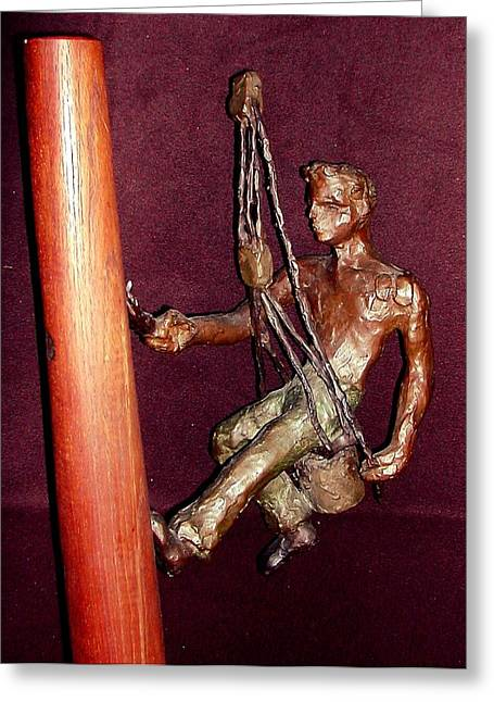 Tall Sculptures Greeting Cards - Varnishing the Mast Greeting Card by William Osmundsen