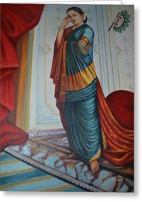 India Tapestries - Textiles Greeting Cards - Vasantha Sena Greeting Card by K Shashi