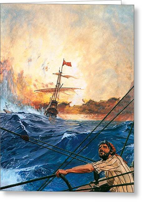 Bravery Greeting Cards - Vasco da Gamas Ships Rounding the Cape Greeting Card by English School
