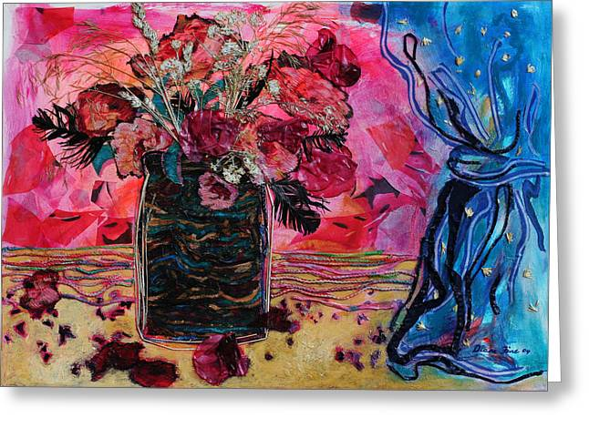 Diane Fine Greeting Cards - Vase and Blue Curtain Greeting Card by Diane Fine